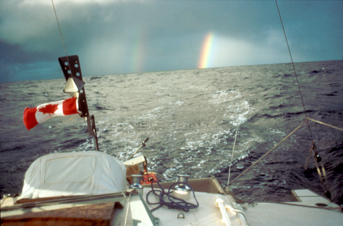 Celerity rainbow squall western Pacific -Will Thomas photo