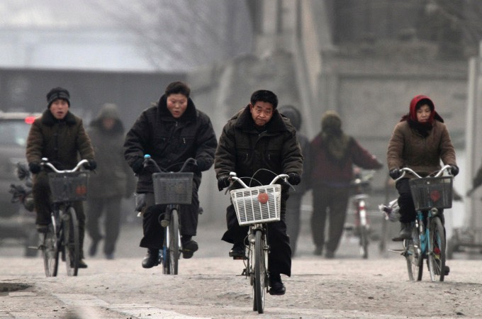 "North Korean ""biker gang"" on shore of the Yalu"