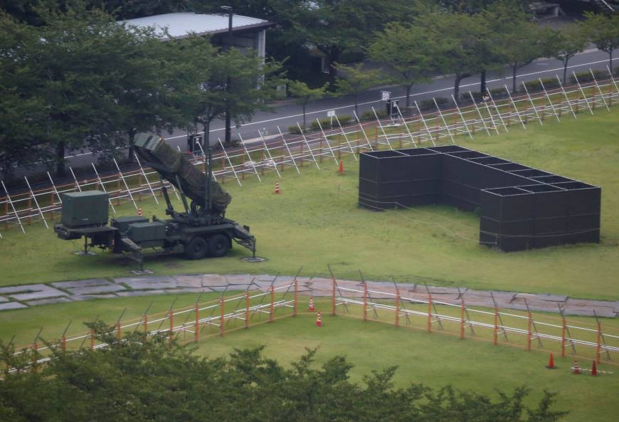 Patriot Advanced Capability-3 (PAC-3) missile battery is seen at the Defense Ministry in Tokyo on Thursday. | REUTERS NATIONAL : POLITICS
