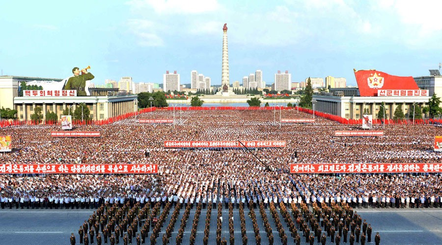 "Pyongyang city mass rally held at Kim Il Sung Square on August 9, 2017 denounces ""fire and fury"" threat -Reuters"