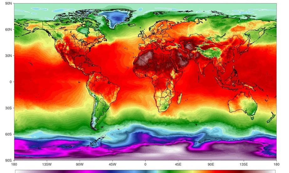 simulation of maximum temperatures on 21 July. Photograph- Climate Reanalyzer:Climate Change Institute:University of Maine